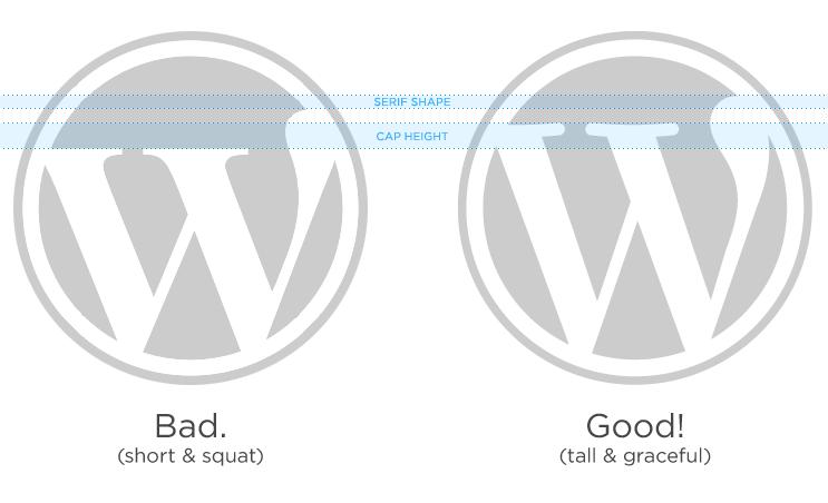 WordPress Correct font logo example