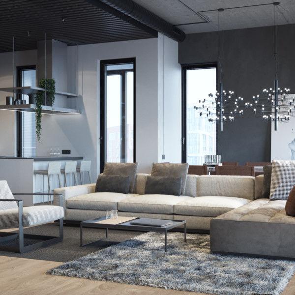 дизайн квартиры в стиле лофт 3