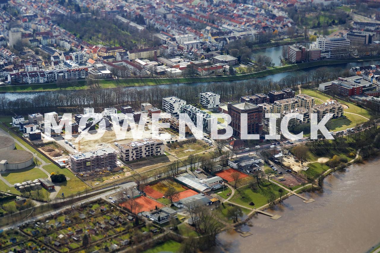 Wohnen auf dem Stadtwerder Bremen  LuftbildBlogger