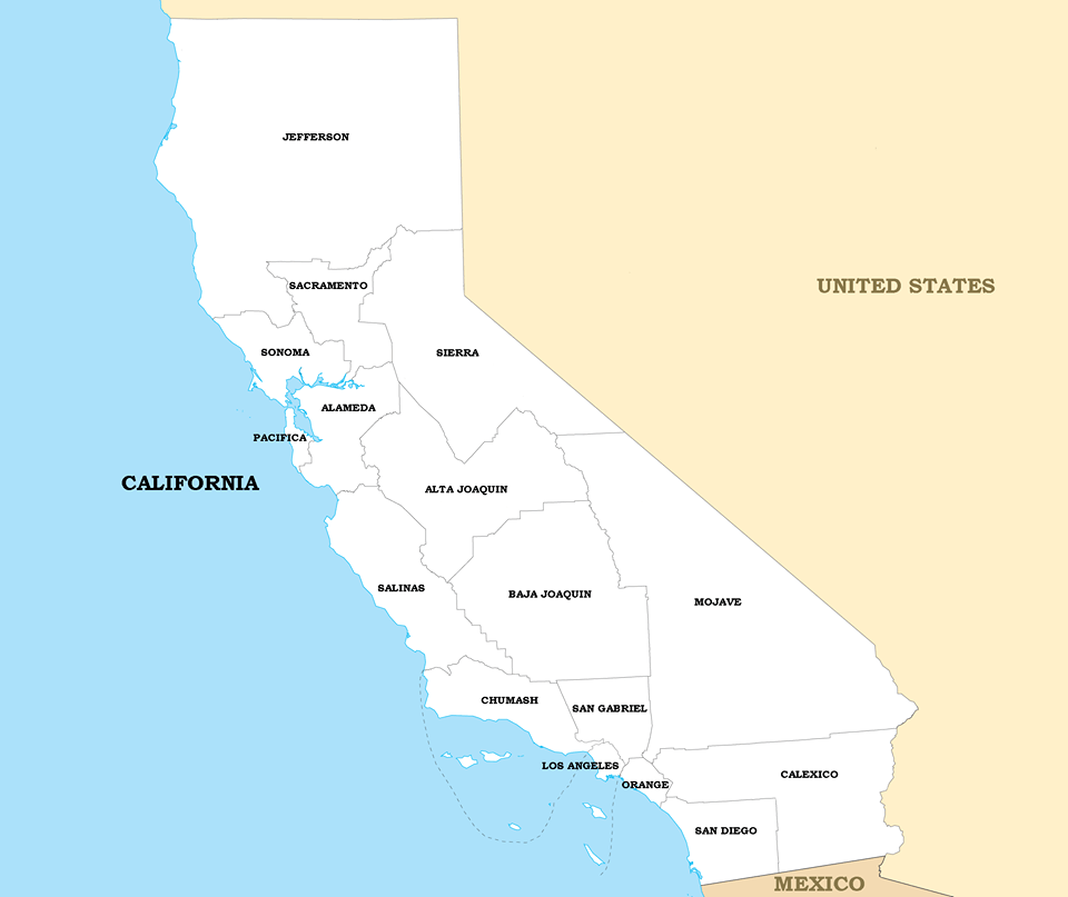 From a 6/25/2016 Newsweek article, this suggests the potential state lines for the hypothetical Nation of California. Hmm...