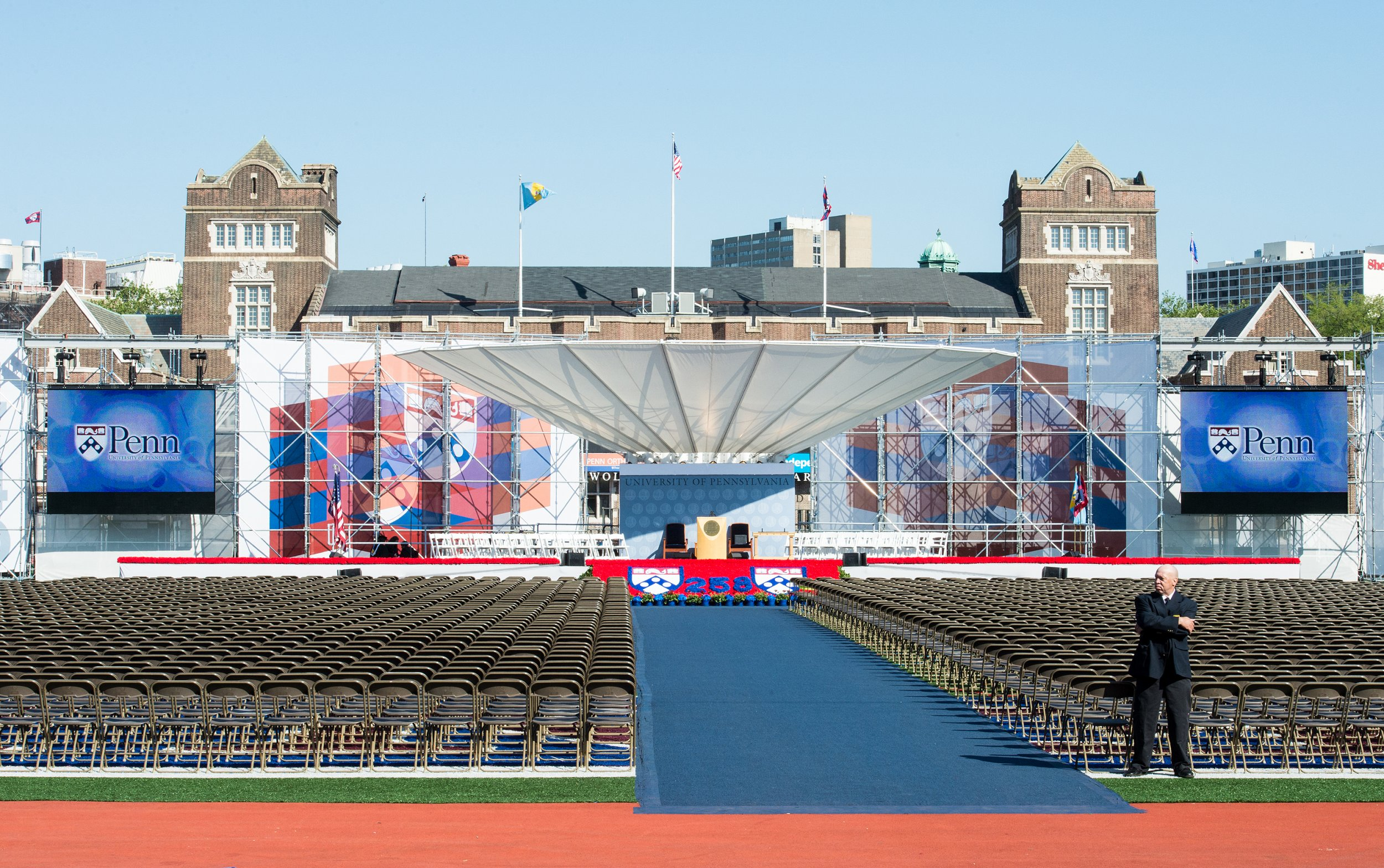 A man waits before the University of Pennsylvania's 258th Commencement ceremony on May 19, 2014 in Philadelphia, Pennsylvania. With the success of digital learning companies like Udacity, which offers