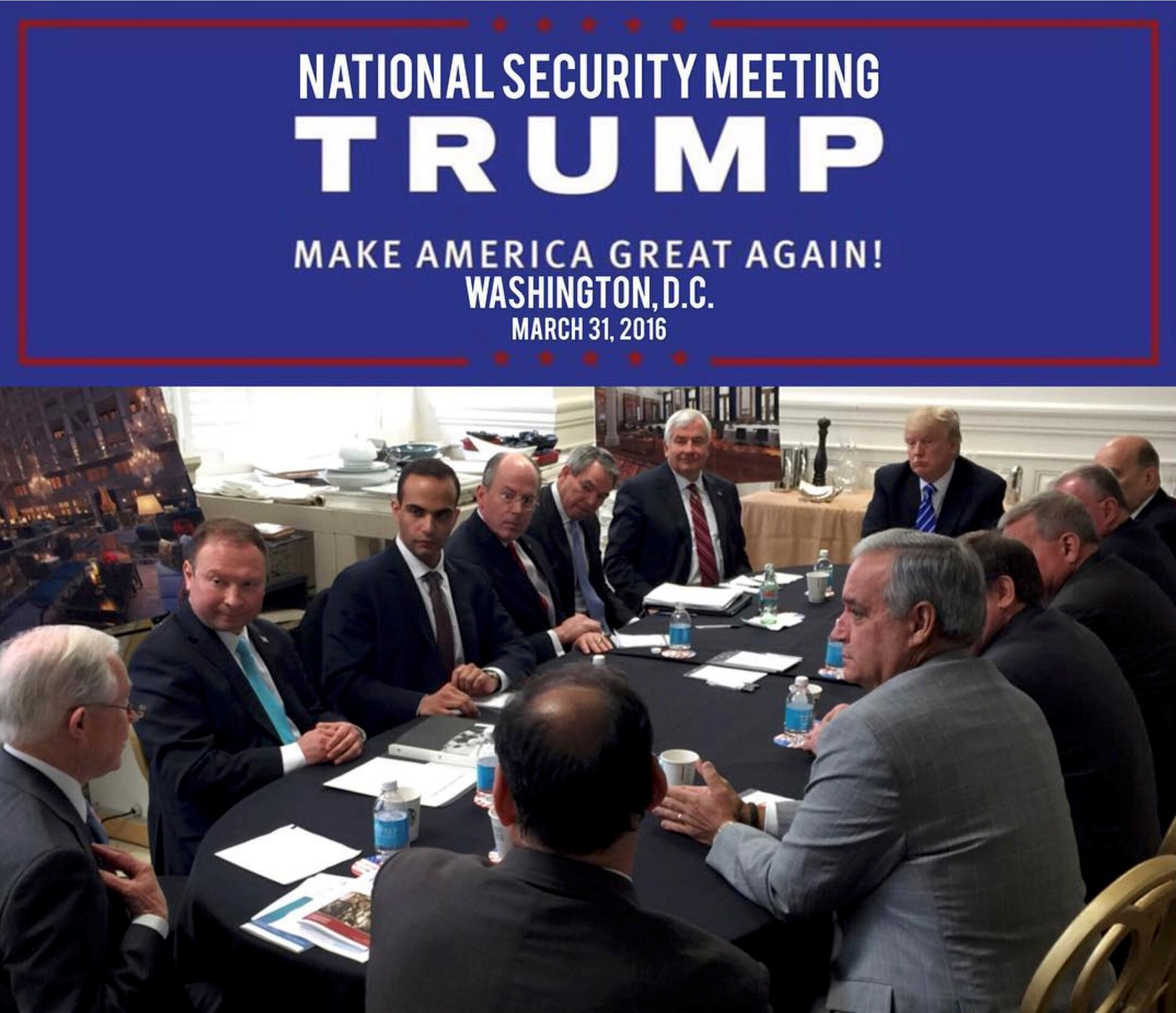 Image result for image of trump at meeting george papadopoulos