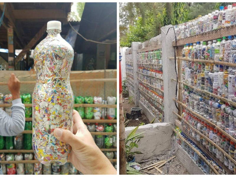 Plastic bottles turned into eco-bricks at Philippines hostels