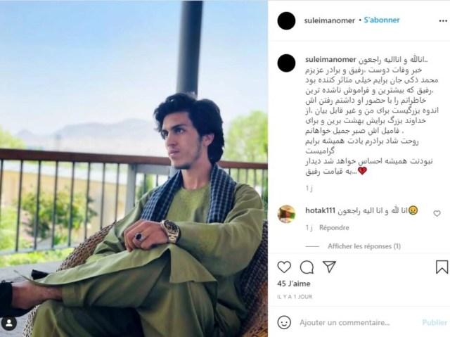 """""""La nouvelle de la mort de mon cher ami, camarade et frère Mohammad Zaki m'a beaucoup touché. Un camarade avec qui j'ai eu les souvenirs les plus mémorables, son départ est une immense tristesse pour moi et je ne trouve pas les mots"""", a écrit un ami de Zaki Anwari sur Instagram le 18 août en légende d'une photo récente de ce dernier."""