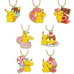 POKEMON STAINED GLASS BALL CHAIN PIKACHU & SWEETS (SET OF 8 PIECES) SK Japan