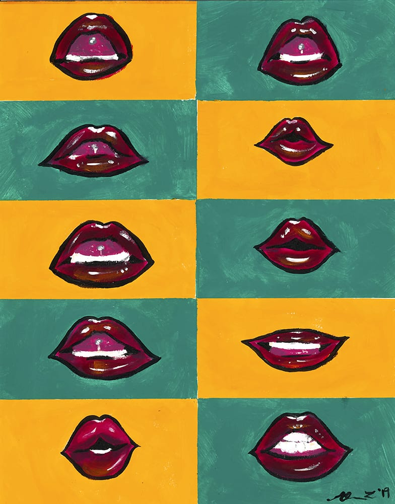speaking mouths on solid color backgrounds