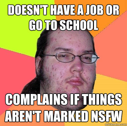 Doesn't have a job or go to school Complains if things aren't marked NSFW