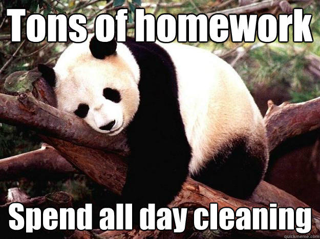 Tons of homework Spend all day cleaning
