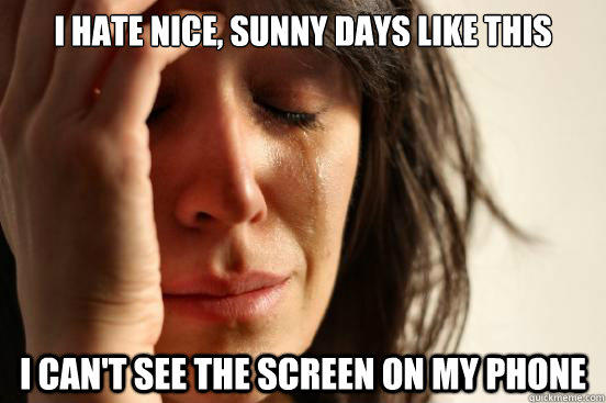 I hate nice, sunny days like this I can't see the screen on my phone