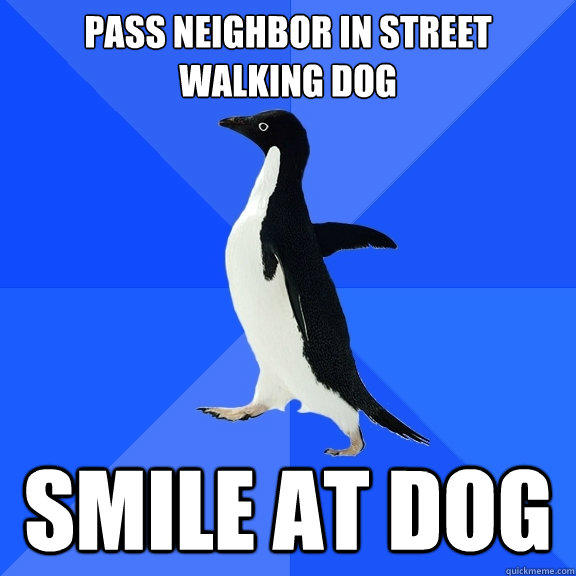 Pass neighbor in street walking dog SMILE AT DOG