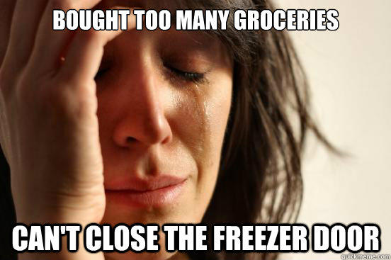bought too many groceries can't close the freezer door