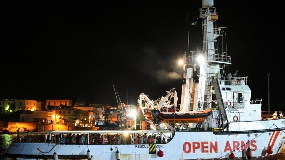 Le navire au pavillon espagnol «Open Arms» le 20 août 2019 dans le port de Lampedusa, en Sicile.