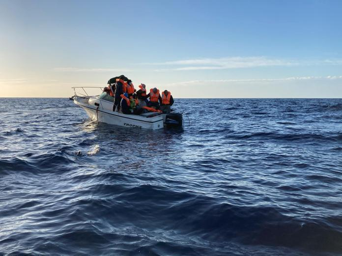Of the eleven passengers who were on board, ten board the SOS Méditerranée boat, but the eleventh leaves with the Libyan coast guard.