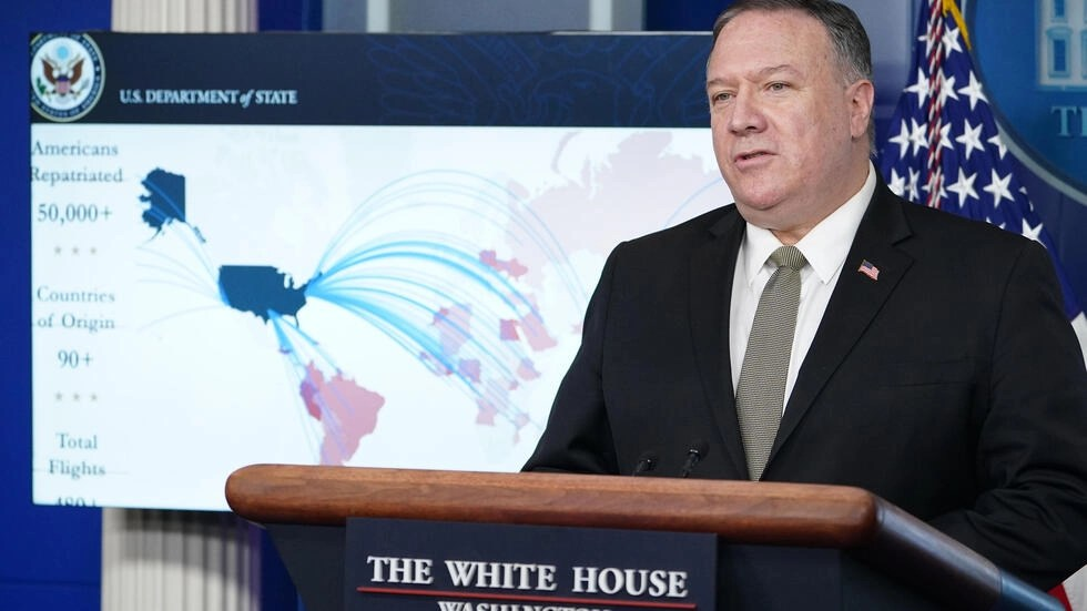 (Ảnh minh họa) – Ngoại trưởng Mỹ Mike Pompeo trong một cuộc họp báo về Covid-19 tại Nhà Trắng, Washington, ngày 08/04/2020.