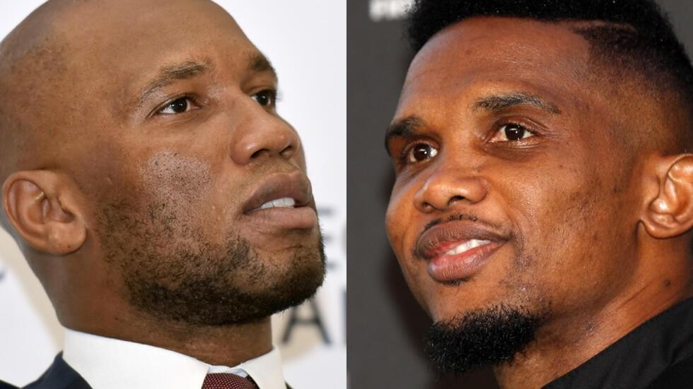 L'Ivoirien Didier Drogba (à gauche) et le Camerounais Samuel Eto'o sont en désaccord sur le fait de jouer la CAN tous les 4 ans.