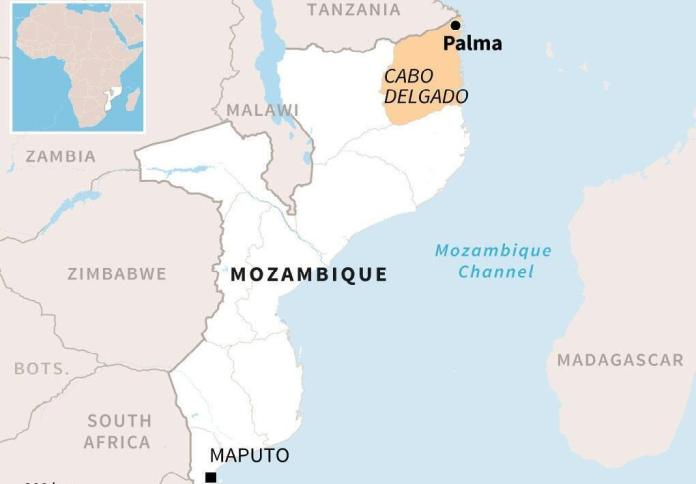 The city of Palma is located in the north = east of Mozambique
