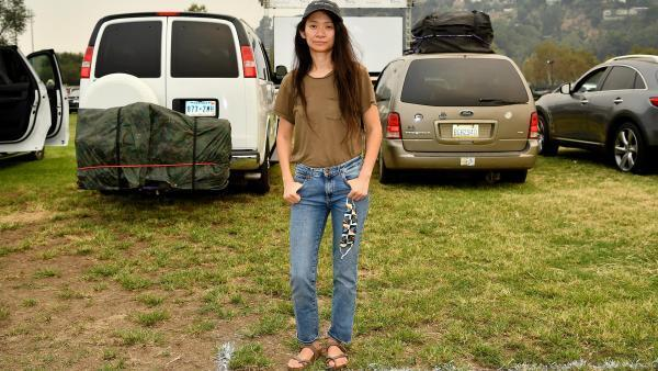 "Chinese-American director Chloé Zhao on September 11, 2020, during the presentation of ""Nomadland"" in the presence of the new nomads, organized by Fox Searchlight and The Telluride Film Festival, in Rose Bowl, Pasadena (California)."