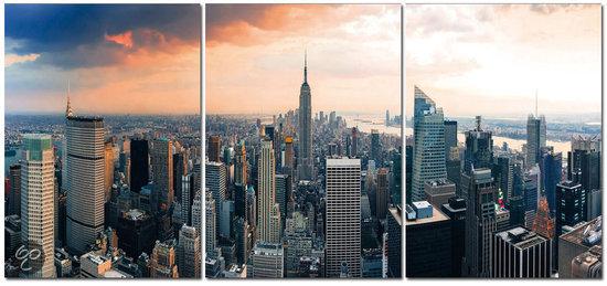 bolcom  Pinehouse Canvas 3 luik New York Color Skyline
