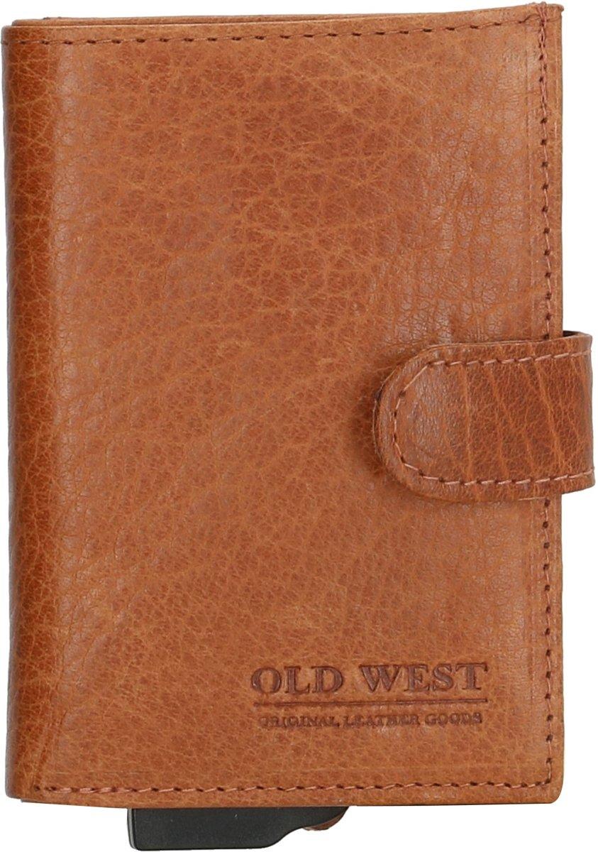 6188783f844 Old West Leer Cardprotector Creditcardhouder Pasjeshouder Rfid 11 Pasjes  Cognac Bruin