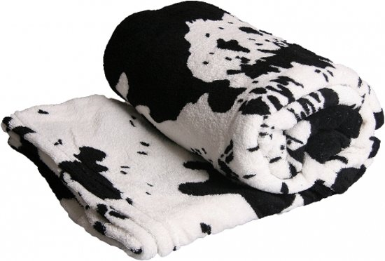 bolcom  Fleece deken met koe print zwartwit