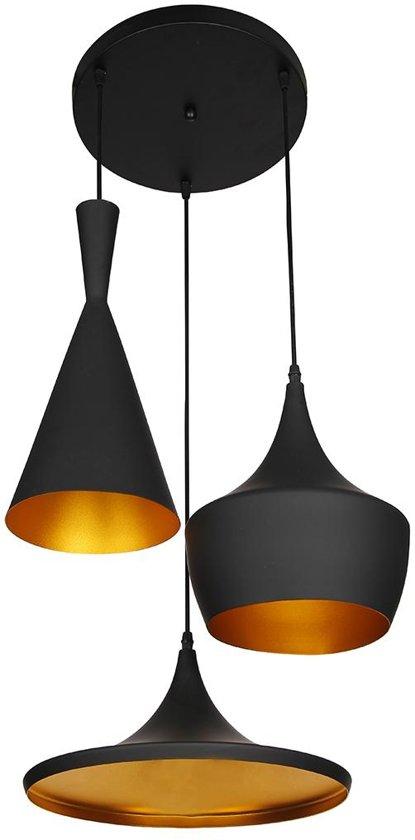 bolcom  Lumenzy Triple  Hanglamp  Zwart Goud
