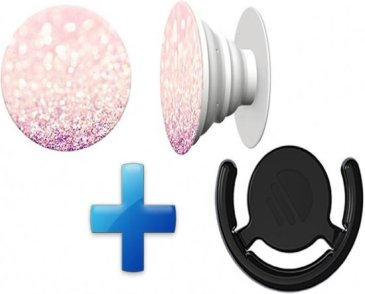 i12Cover - Button in de PopSocket style - Inclusief ophang clip - Voor Telefoon/tablet - Blush