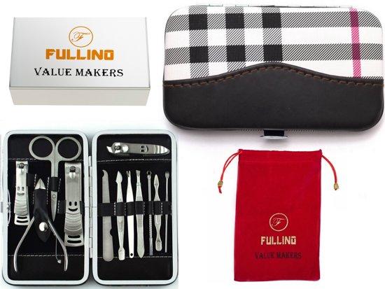 FULLINO 12 Delig French Manicureset & Pedicureset Met Lederen Etui , Nagelverzorging Set Cadeau Voor Vrouwen
