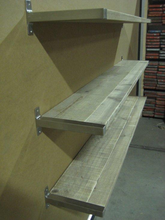 bolcom  Steigerhouten boekenplank met RVS beugels Ryde XL