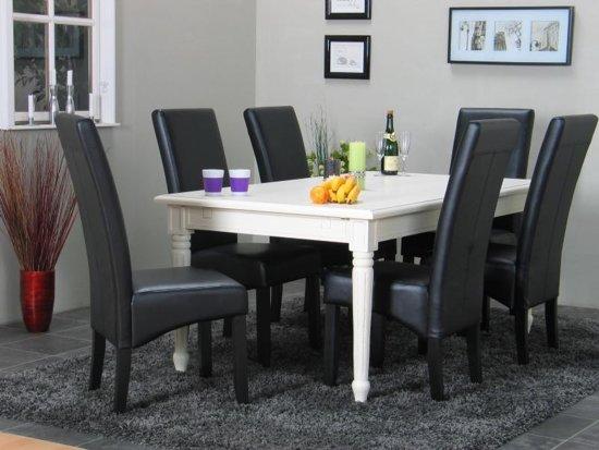 bolcom  Eethoek Mozart tafel wit met 6 stoelen zwart Giessen