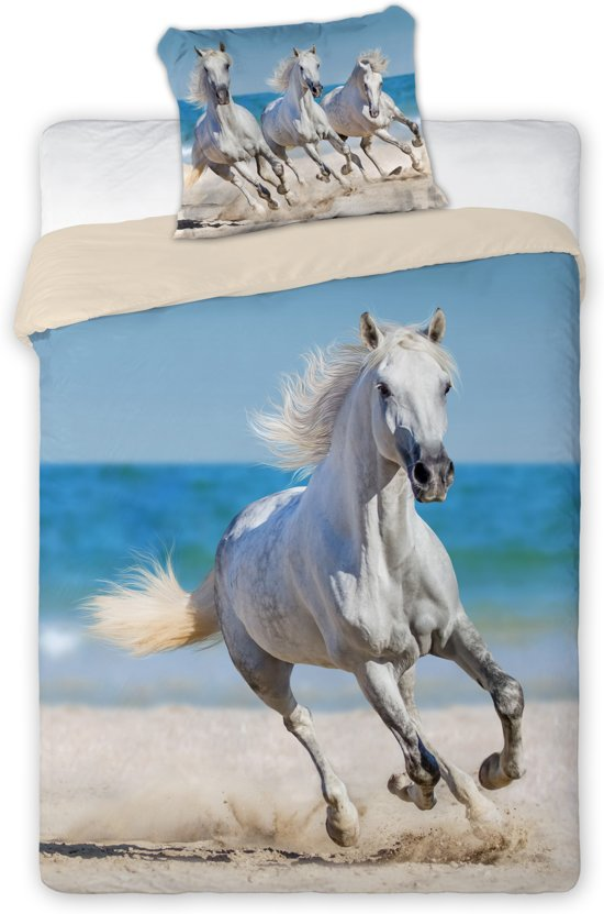 bolcom  Witte paarden op het strand  dekbedovertrek