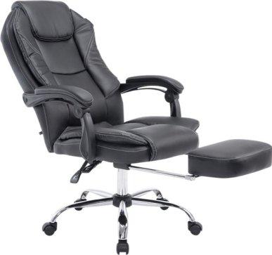 Clp Managerstoel CASTLE, directiestoel, bureaustoel, met voetsteun, ergonomisch, kunstlederen bekleding - zwart,
