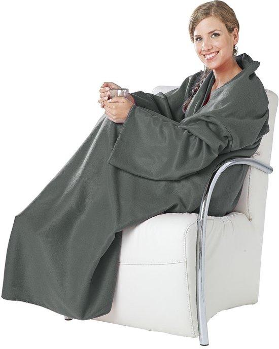 bolcom  Fleece deken met mouwen  grijs  fleeche
