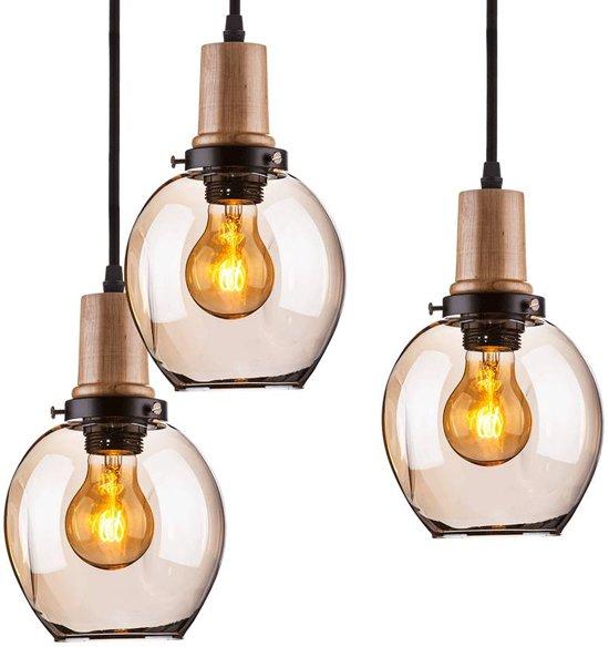 bolcom  VTAC Trio  Hanglamp  Draadlamp  3 Lichts  Glas