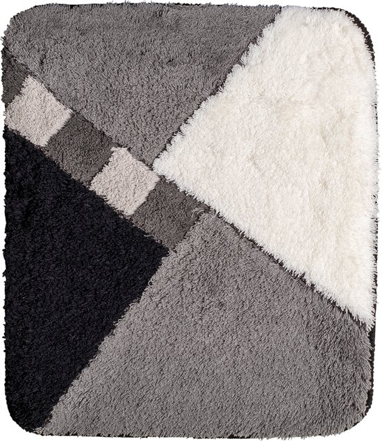 bolcom  Badmat 60x90cm Zwart Wit Grijs Geblokt
