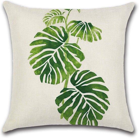 bolcom  Kussenhoesje met print van groene bladeren