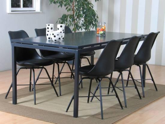 bolcom  Peak eethoek 66 grijze tafel met 6 zwarte stoelen