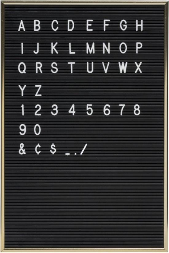 bolcom  Letterbord zwart Jay met gouden omkadering  286