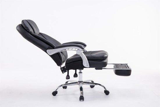 Clp XL Bureaustoel TROY managerstoel met armleuning, relax zetel met voetsteun, belastbaar tot 160 kg, kunstleer - zwart