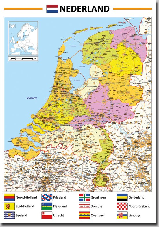 bolcom  Poster kaart Nederland 70x100cm