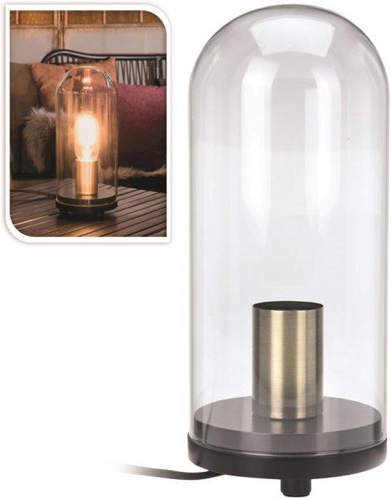 bolcom  Tafellamp in glazen stolp 27cm  Industrieel