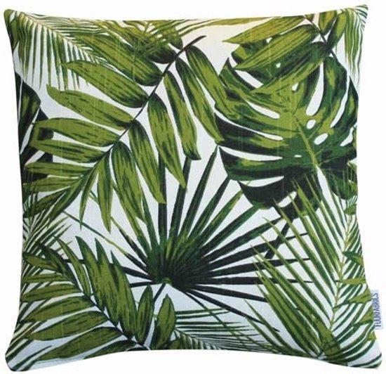 bolcom  Kussen Palm Monstera Blad  wit groen  38x38 cm