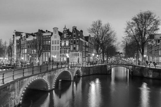 bolcom Canvas Amsterdam 21 Zwart wit 120 x 80cm