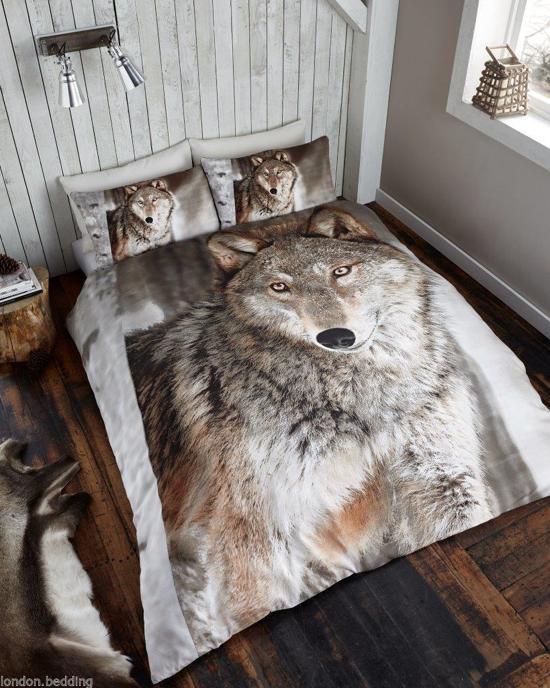 bolcom  Wolf 1 persoons dekbedovertrek Wolven dekbed