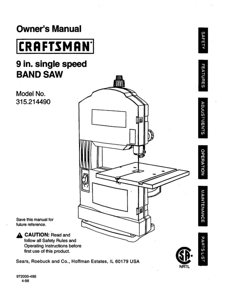 Band Saw Owner's Manual
