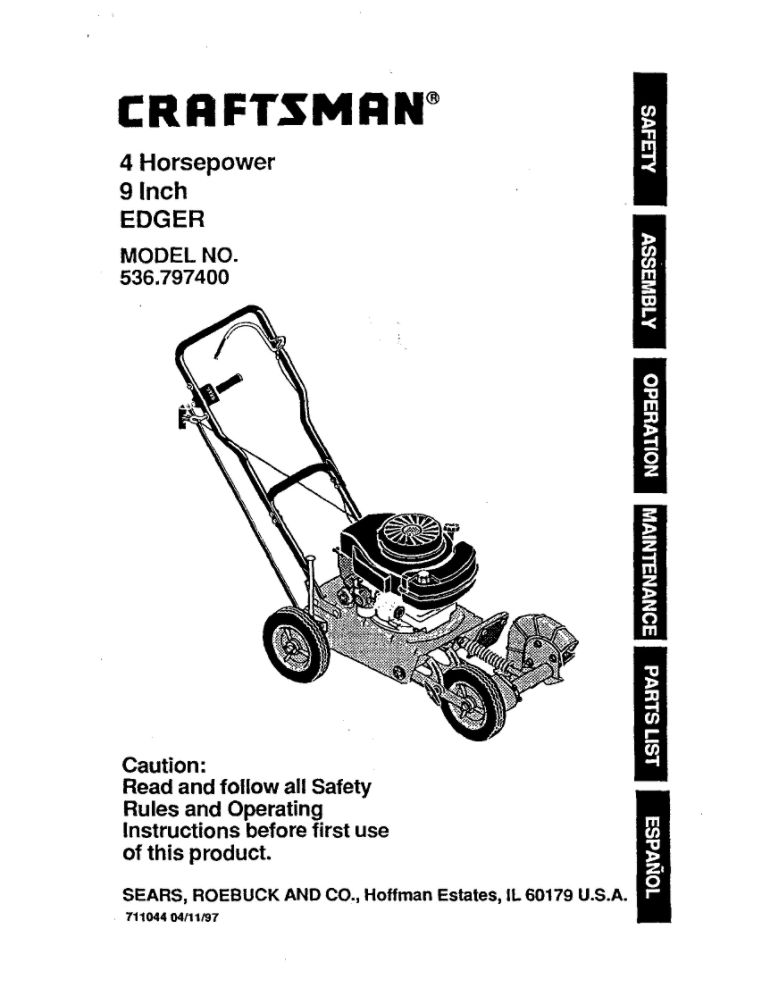 Looking for edger owner's manual 711044 replacement or