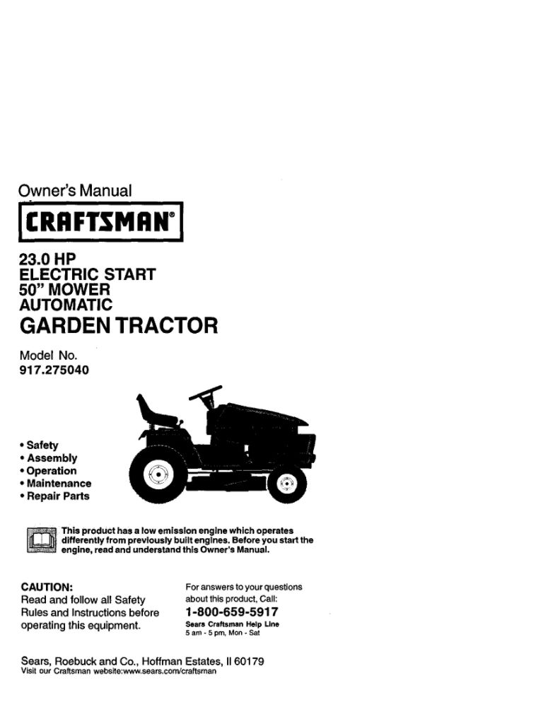 Lawn Tractor Owner's Manual   Part Number 177741   Sears PartsDirect