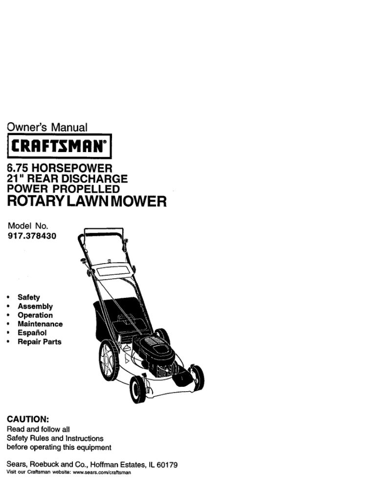 Looking for lawn mower owner's manual 177413 replacement
