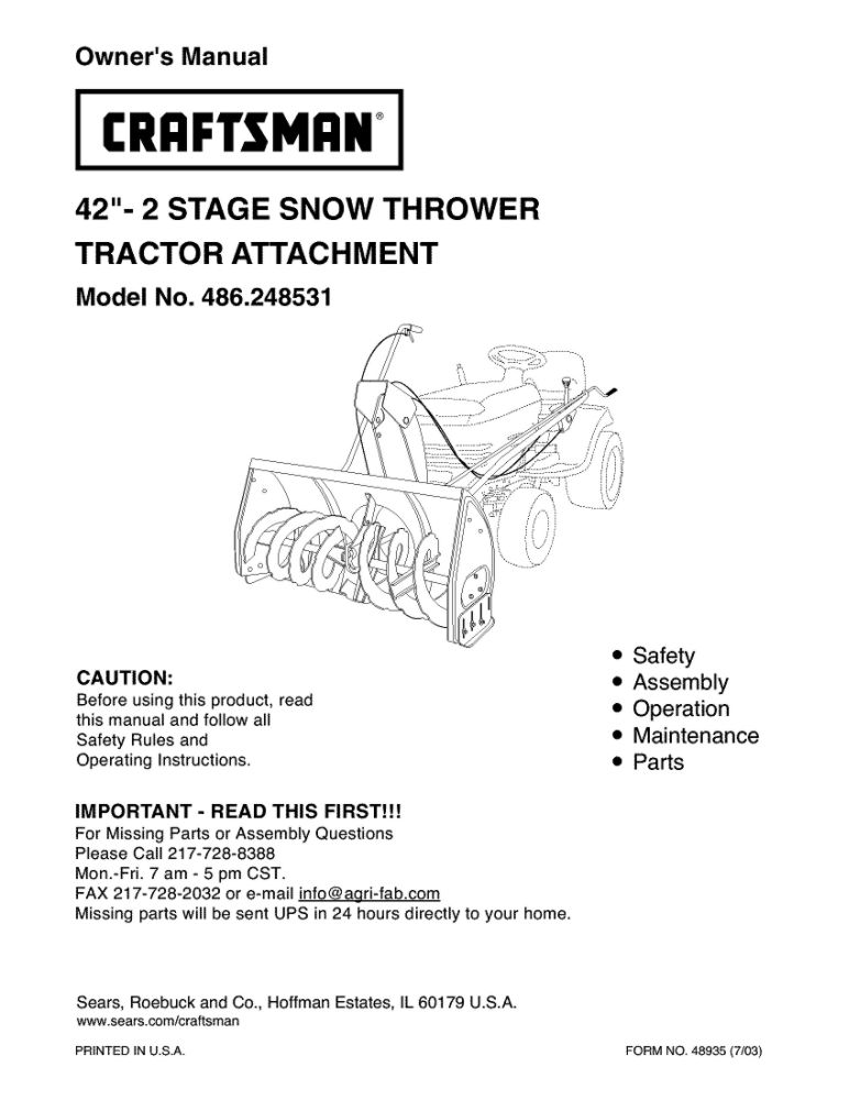 Lawn Tractor Snowblower Attachment Owners Manual