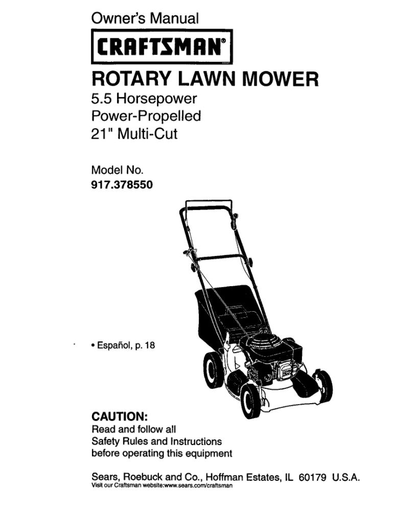 189453 Lawn Mower Owner's Manual
