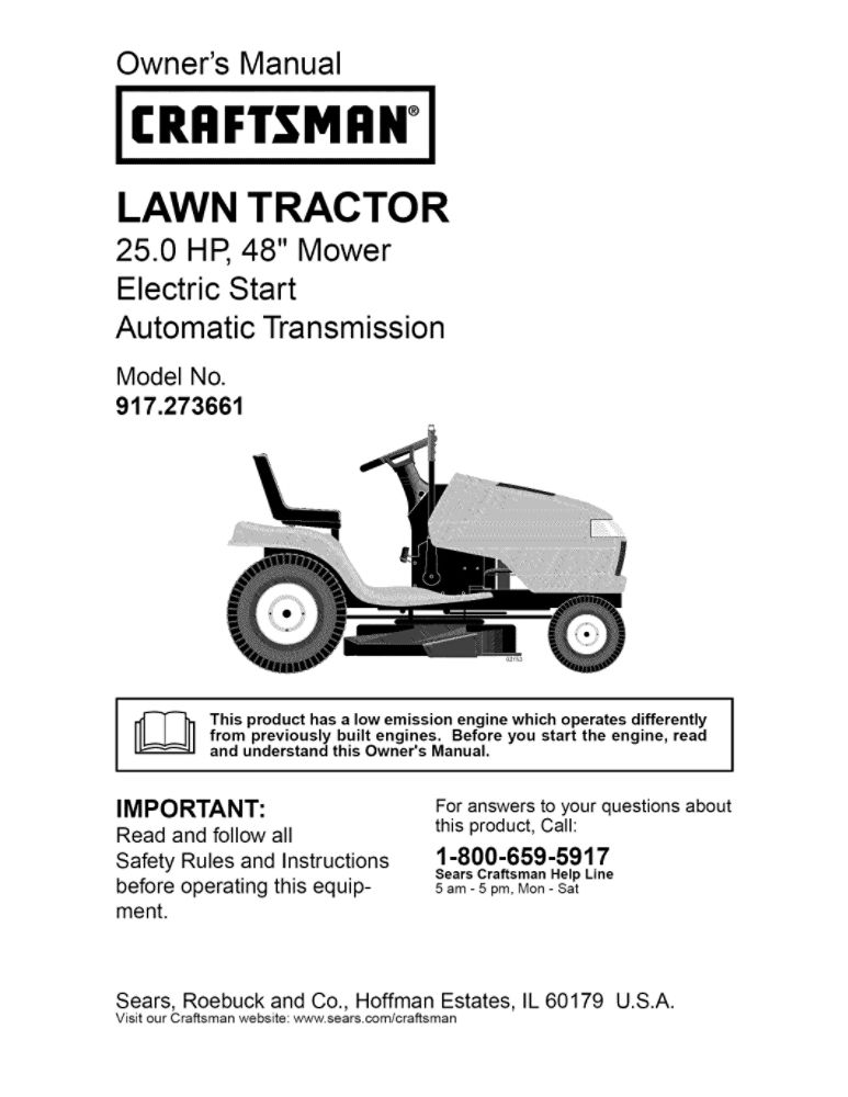 Lawn Tractor Owner's Manual   Part Number 191179   Sears PartsDirect